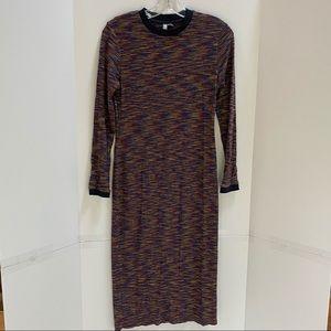 ASOS Stretchy sheath dress rib knit multicolor 6